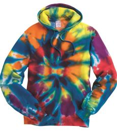 Dyenomite 854TD Rainbow Multi-Color Cut-Spiral Hooded Sweatshirt