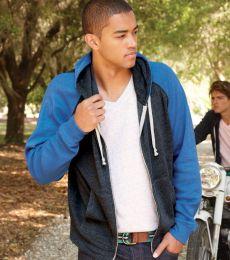 8874 J. America - Triblend Raglan Full-Zip Hooded Sweatshirt