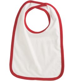 RS1004 Rabbit Skins Infant Jersey Contrast Trim Velcro™ Bib