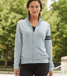 A191 adidas - Ladies' ClimaLite® 3-Stripes French Terry Full-Zip Jacket