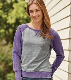 8927 J. America Women's Zen Fleece Raglan Sleeve Crewneck Sweatshirt