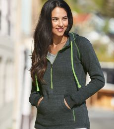 8876 J. America - Women's 1/2 Zip Triblend Hooded Sweatshirt