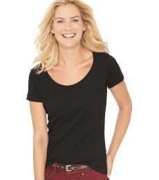 3504 LA T Ladies' Fine Jersey Deep Scoop Neck Longer Length T-Shirt