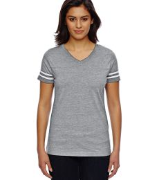 LAT 3537 Women's V-Neck Football Tee