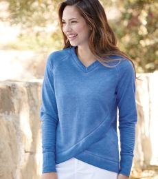8666 J. America Women's Oasis Wash French Terry Criss Cross V-Neck Sweatshirt