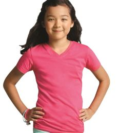 LAT 2607 Girls' V-Neck Fine Jersey T-Shirt