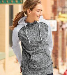 J America 8618 Women's  Colorblock Cosmic Fleece Hooded Pullover Sweatshirt