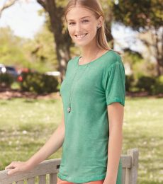 J America 8127 Women's Oasis Wash Drop Tail T-Shirt