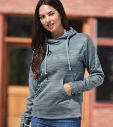 J America 8662 Women's Odyssey Striped Performance Fleece Lapover Hooded Sweatshirt