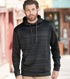J America 8661 Odyssey Striped Performance Fleece Hooded Pullover Sweatshirt