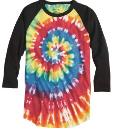 Dyenomite 660VR Tie-Dyed Three-Quarter Sleeve Raglan T-Shirt