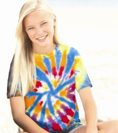 60B Dyenomite Tie-Dye Youth Rainbow Cut Spiral Tee
