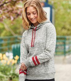 197 8674 Women's Melange Fleece Striped Sleeve Hooded Pullover