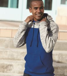197 8676 Melange Fleece Colorblocked Hooded Pullover