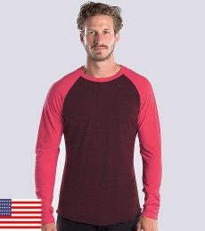 US Blanks US660OD Men's 4.5 oz. Long-Sleeve Triblend Layer-Dyed Baseball Raglan