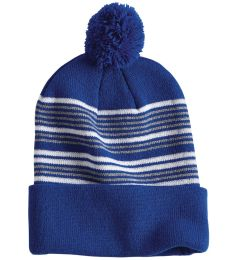 "Sportsman SP60 12"" Striped Pom-Pom Knit Cap"