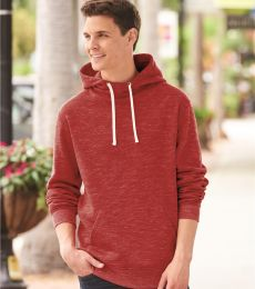J America 8677 Melange Fleece Hooded Pullover Sweatshirt
