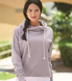 J America 8684 Women's Lounge Fleece Hi-Low Hooded Pullover