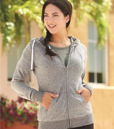 J America 8656 Cozy Fleece Women's Full-Zip Hooded Sweatshirt