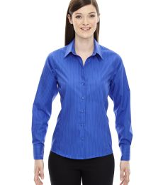 78674 North End Sport Blue Boardwalk Ladies' Wrinkle-Free 2-Ply 80's Cotton Striped Taped Shirt