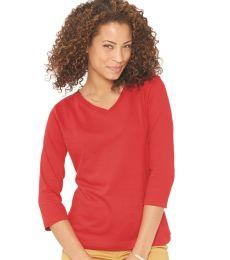 3577 LA T Ladies' V-Neck 3/4-Sleeve T-Shirt