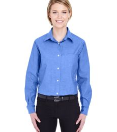 8361 UltraClub® Ladies' Long-Sleeve Blend Performance Pinpoint Woven Shirt