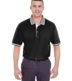8537 UltraClub® Adult Color-Body Classic Pique Cotton Polo with Contrasting Multi-Stripe Trim