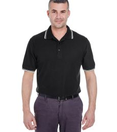 8545 UltraClub® Men's Short-Sleeve Whisper Pique Blend Polo with Rib Collar and Cuff Tipping
