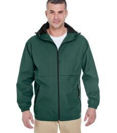 8908 UltraClub® Adult Microfiber Hooded Zip-Front Jacket