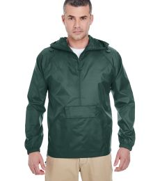 8925 UltraClub® Adult 1/4-Zip Hooded Nylon Pullover Pack-Away Jacket