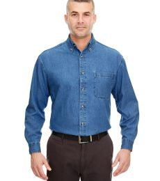 8960T UltraClub® Men's Tall Long-Sleeve Cotton Cypress Denim Woven Shirt with Pocket