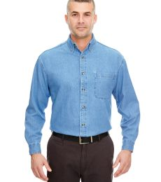 8960T UltraClub® Men's Tall Long-Sleeve Cotton Cypress Denim Woven Shirt with Pocket