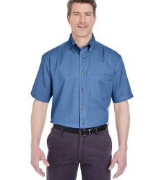 8965 UltraClub® Adult Short-Sleeve Cotton Cypress Denim Woven Shirt with Pocket