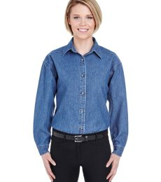 8966 UltraClub® Ladies' Long-Sleeve Cotton Cypress Denim Woven Shirt