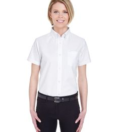 8973 UltraClub® Ladies' Classic Wrinkle-Free Blended Short-Sleeve Oxford Woven Shirt