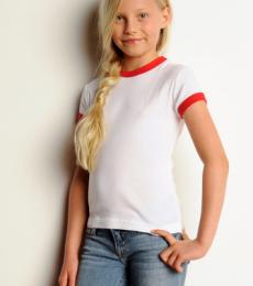 9040 Bella Girl's 5.8 oz., 1x1 Baby Rib Ringer T-Shirt