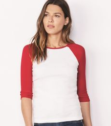 Bella 2000 Ladies Ribbed 3/4 Sleeve Baseball Tee B2000