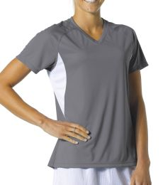 NW3223 A4 Women's Color Blocked Performance V-Neck