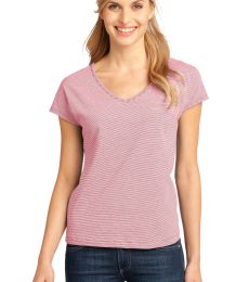 District Made 153 Ladies Mini Stripe Dolman V Neck Tee DM422