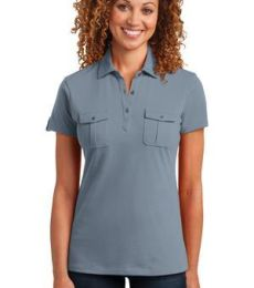 DM433 District Made™ Ladies Jersey Double Pocket Polo