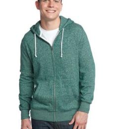 District Young Mens Marled Fleece Full Zip Hoodie DT192