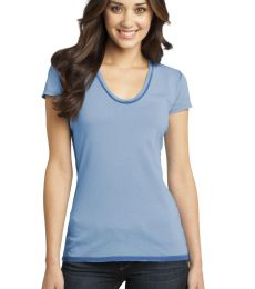 District DT2202 CLOSEOUT  - Juniors Faded Rounded Deep V-Neck Tee