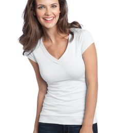 District Juniors CottonSpandex Banded V Neck Tee DT247