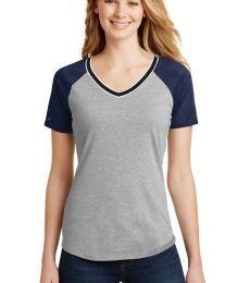 District DT276    Juniors Mesh Sleeve V-Neck Tee