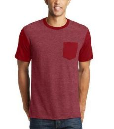 DT6000SP District® Young Mens Very Important Tee® with Contrast Sleeves and Pocket