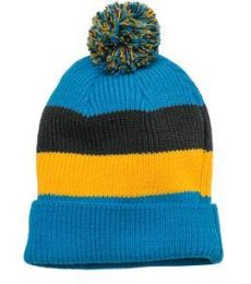 DT627 District Vintage Striped Beanie with Removable Pom