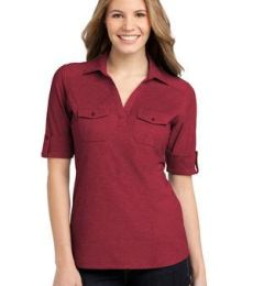L557 Port Authority® Ladies Oxford Pique Double Pocket Polo