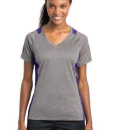 LST361 Sport-Tek® Ladies Heather Colorblock Contender™ V-Neck Tee