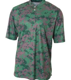 NB3263 A4 Drop Ship Youth Camo 2-Button Henley Shirt
