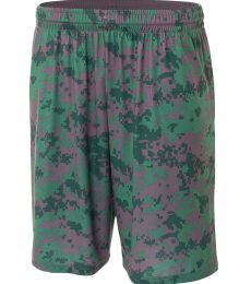 NB5322 A4 Drop Ship Youth 8 Inseam Printed Camo Performance Shorts
